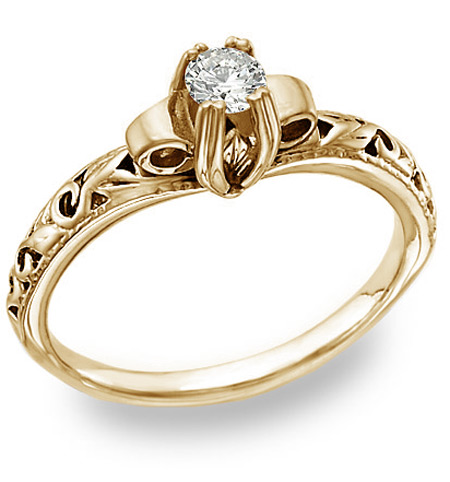 1930s Jewelry | Art Deco Style Jewelry Art Deco Design 0.25 Carat Diamond Engagement Ring 14K Yellow Gold $775.00 AT vintagedancer.com