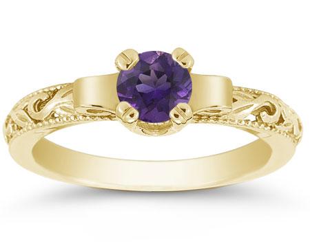 Art Deco Inspired Amethyst Ring, 1/2 Carat, 14K Yellow Gold