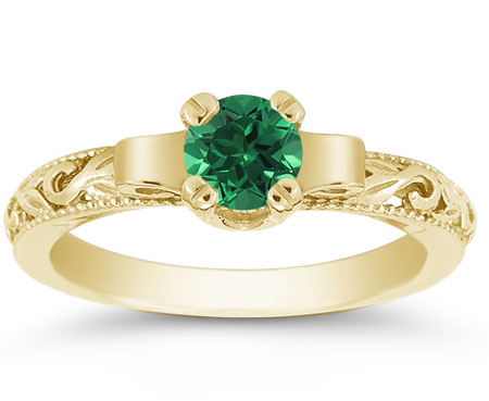 1930s Jewelry Styles and Trends Art Deco Period Emerald Engagement Ring 14K Yellow Gold $725.00 AT vintagedancer.com