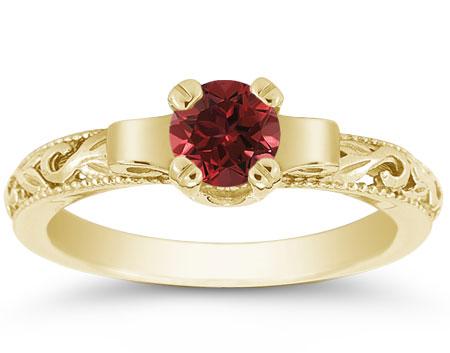 Art Deco Crimson Garnet Ring, 14K Yellow Gold