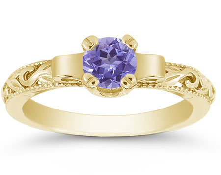 Art Deco Tanzanite Engagement Ring, 1/2 Carat, 14K Yellow Gold