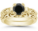 Black Diamond 1 Carat Lotus Flower Bridal Wedding Ring Set, 14K Yellow Gold