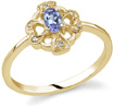 Cross and Heart Clover Tanzanite and Diamond Ring, 14K Yellow Gold