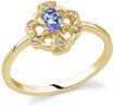 Cross and Heart Clover Tanzanite and Diamond Ring, 14K Yellow Gold