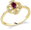 Cross and Heart Red Ruby and Diamond Ring, 14K Yellow Gold