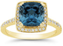 Cushion-Cut Deep London Blue Topaz and Diamond Halo Ring, 14K Yellow Gold