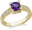 Cushion-Cut Regal Amethyst and Diamond Ring, 14K Gold