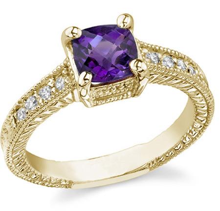 Cushion-Cut Regal Amethyst and Diamond Ring, 14K Gold