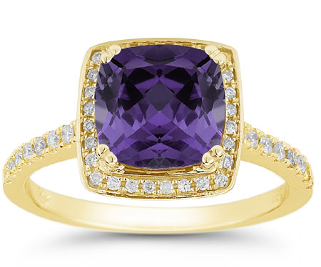 Cushion-Cut Purple Amethyst Diamond Halo Ring, 14K Yellow Gold