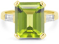 Emerald-Cut 5 Carat Peridot and Baguette Diamond Ring in 14K Yellow Gold
