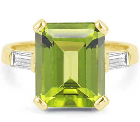 Emerald-Cut 5 Carat Peridot and Baguette Diamond Ring in 14K Yellow Gold