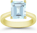 Emerald-Cut Aquamarine Solitaire Ring, 14K Yellow Gold