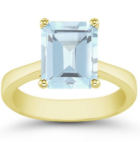 Emerald-Cut Aquamarine Solitaire Ring, 14K Yellow Gold