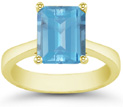 Emerald-Cut Blue Topaz Solitaire Ring, 14K Yellow Gold