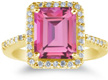 Emerald-Cut Pink Topaz and Diamond Cocktail Ring 14K Yellow Gold