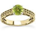 Engraved Heart Green Peridot Ring, 14K Yellow Gold