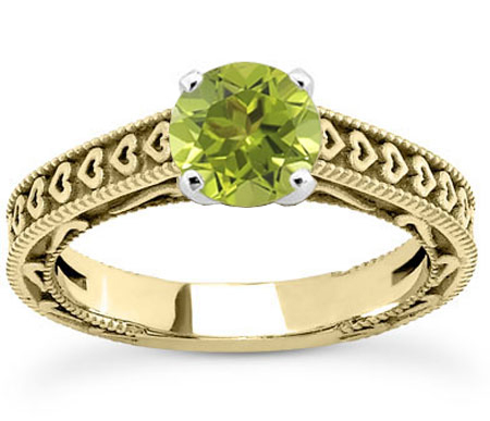 Engraved Heart Green Peridot Ring, 14K Yellow Gold