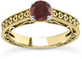 Engraved Heart Red Garnet Engagement Ring, 14K Yellow Gold