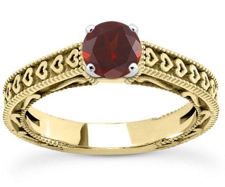 Engraved Heart Red Garnet Engagement Ring, 14K Yellow Gold