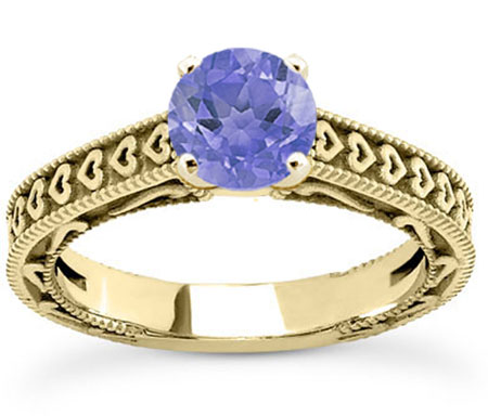 Engraved Heart  Violet Tanzanite Engagement Ring, 14K Yellow Gold