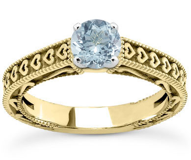 Etched Heart Band Aquamarine Engagement Ring, 14K Yellow Gold