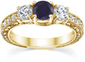 Floral-Carved Blue Sapphire and Diamond Three Stone Engagement Ring, 14K Yellow Gold