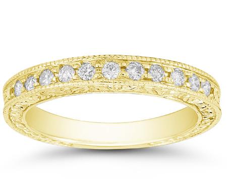 Floret Designed Diamond Wedding Band Ring, 14K Yellow Gold