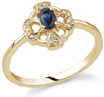Heart and Cross Oval Sapphire Diamond Ring, 14K Yellow Gold