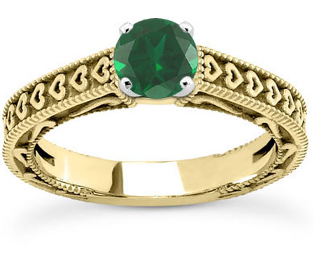 Heart Band and Green Emerald Engagement Ring, 14K Yellow Gold