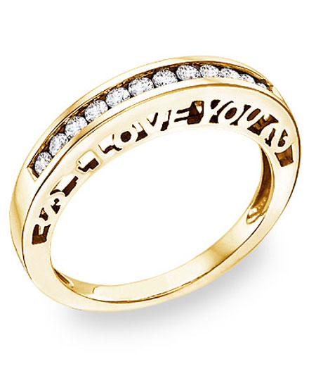 I Love You Diamond Band in 14K Yellow Gold