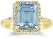 Large 2.70 Carat Emerald-Cut Aquamarine and Diamond Ring, 14K Yellow Gold