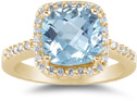 Large Cushion-Cut Aquamarine and Diamond Halo Cocktail Ring, 14K Yellow Gold