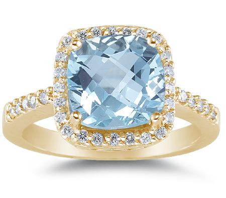 Large Cushion-Cut Aquamarine and Diamond Halo Cocktail Ring, 14K Yellow Gold