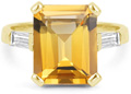 Large Emerald-Cut Citrine and Baguette Diamond Ring, 14K Yellow Gold