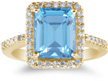 Large Swiss Blue 10mm x 8mm Topaz and Diamond Cocktail Ring, 14K Yellow Gold