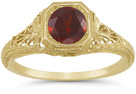 Latticed Antique-Style Filigree Deep Red Garnet Ring in 14K Yellow Gold