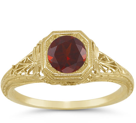 Victorian Jewelry Rings, Earrings, Necklaces, Hair Jewelry Latticed Antique-Style Filigree Deep Red Garnet Ring in 14K Yellow Gold $725.00 AT vintagedancer.com