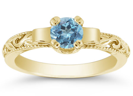 Lotus Flower Blue Topaz Ring in 14K Yellow Gold