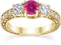 Pink Topaz and Diamond Three-Stone Antique-Style Engagement Ring, 14K Yellow Gold