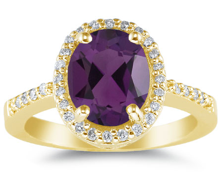Purple Amethyst and Diamond Cocktail Ring in 14K Yellow Gold