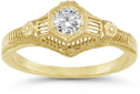 1/4 Carat Antique-Made Floral Diamond Engagement Ring, 14K Yellow Gold