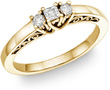 1/4 Carat Three-Stone Princess-Cut and Round Diamond Ring, 14K Yellow Gold