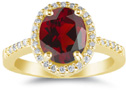 Red Garnet and Diamond Cocktail Ring in 14K Yellow Gold