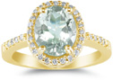Sea-Green Amethyst and Diamond Cocktail Ring, 14K Yellow Gold