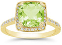 Square Cushion-Cut Light Green Peridot Diamond Halo Ring, 14K Yellow Gold