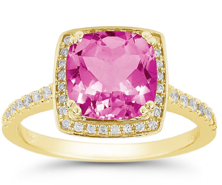 Square Cushion-Cut Pink Topaz and Diamond Halo Ring in 14K Yellow Gold