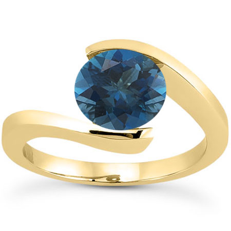 Tension-Set 1 Carat Deep London Blue Topaz Ring, 14K Yellow Gold