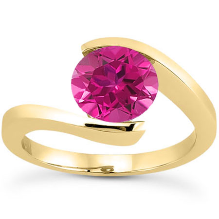 Tension Set 1 Carat Pink Topaz Solitaire Ring, 14K Yellow Gold