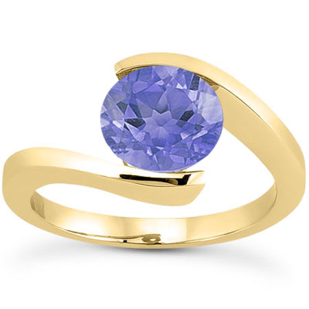 Tension Set 1 Carat Violet Tanzanite Engagement Ring, 14K Yellow Gold