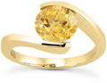 Tension-Set Bright Yellow Citrine Ring, 14K Yellow Gold